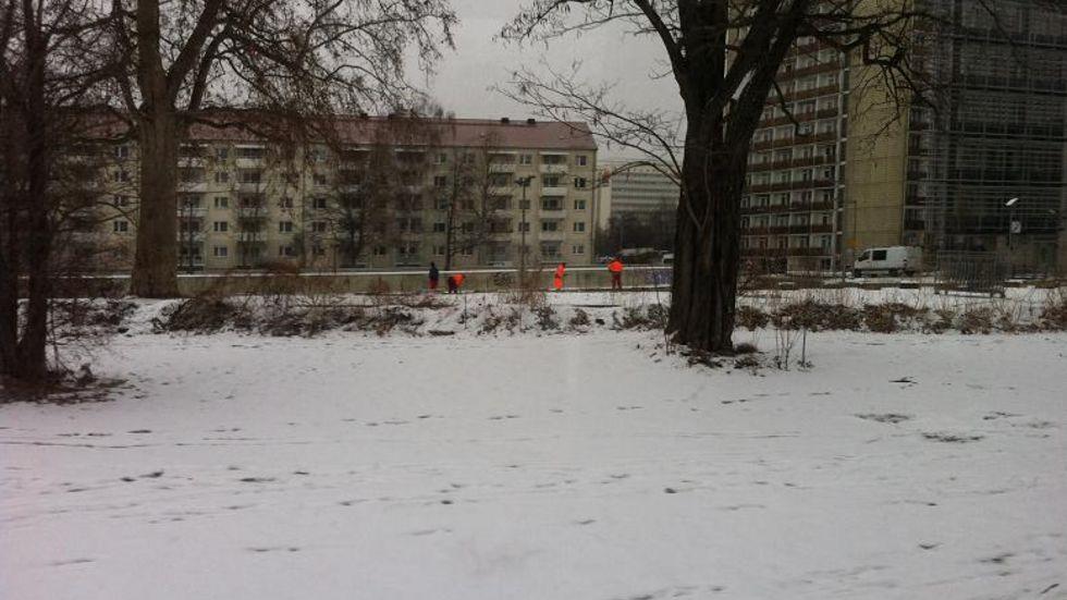 Aufbau von Absperrgittern an der Reitbahnstraße