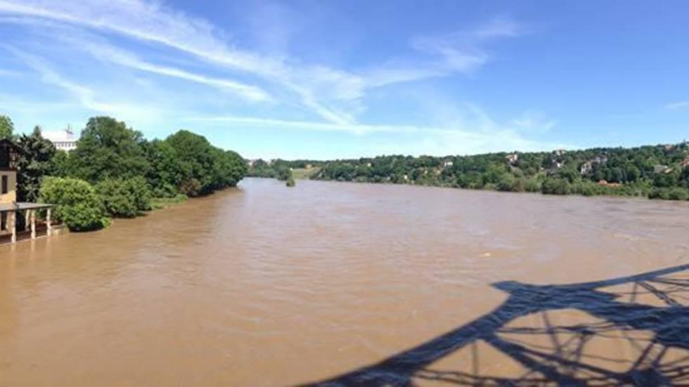 Hochwasser am Blauen Wunder (Foto: Redaktion)