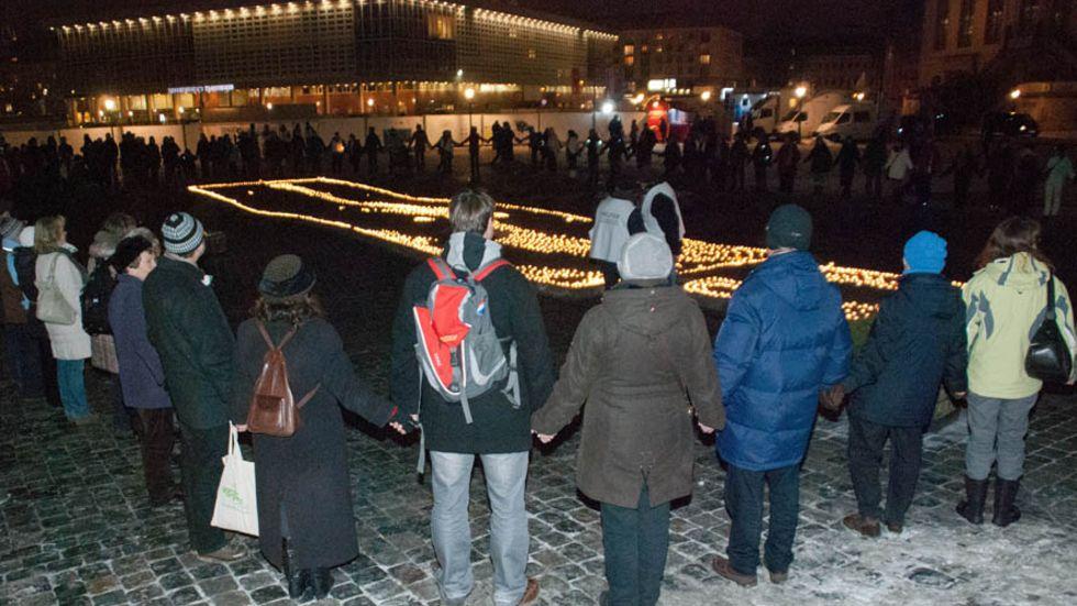 Die Menschenkette lockte 13.000 Menschen an