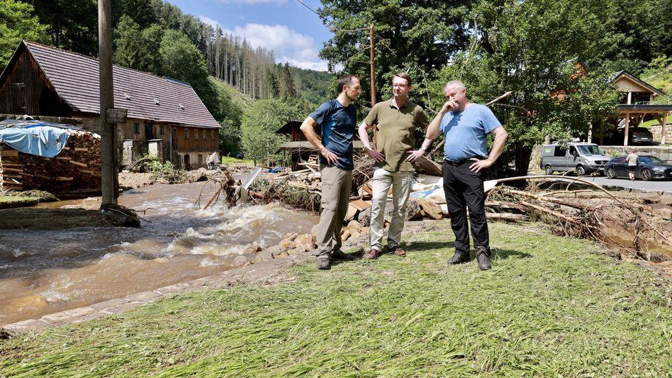 Thomas Kunack, Bürgermeister Bad Schandau, Innenminister Roland Wöller, Michael Geisler, Landrat Sächsische Schweiz Osterzgebirge