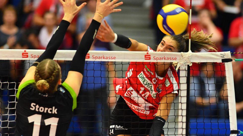 Maja Storck noch gegen den DSC. Ab der neuen Saison wird sie das Trikot des Pokalsiegers tragen.