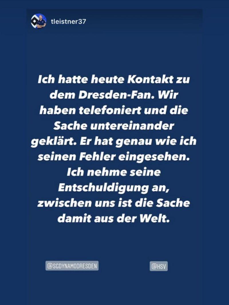 Toni Leistner auf seinem Instagram-Account zu dem Telefongespräch mit dem Dynamo-Fan