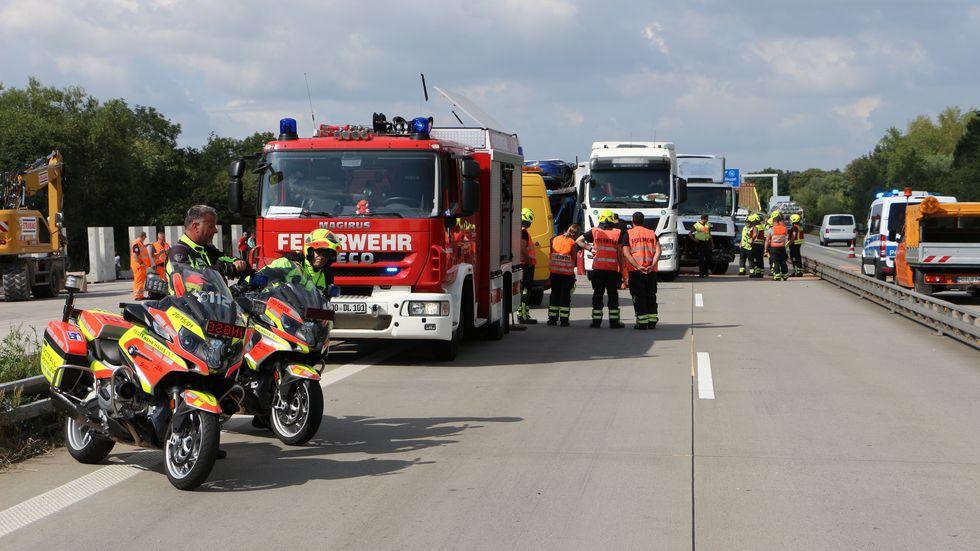 Lkw-Unfall auf der A 9 bei Leipzig