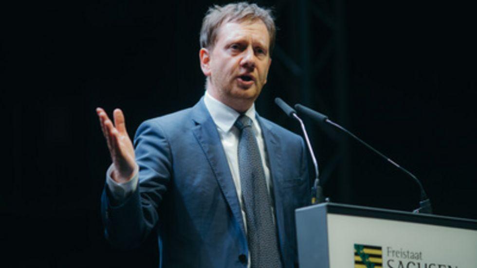 Ministerpräsident Michael Kretschmer ist bei der TU-Veranstaltung dabei (Archivfoto: dpa)