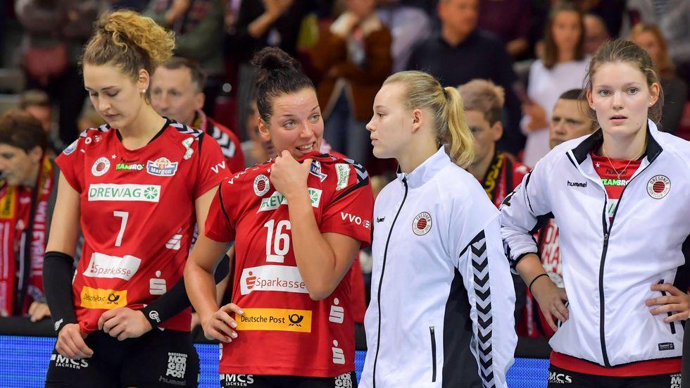 Die Enttäuschung über das Pokalaus steht den Dresdner Volleyballerinnen ins Gesicht geschrieben.