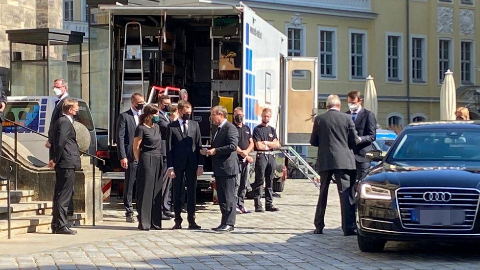 Ministerpräsident Michael Kretschmer begrüßt CDU-Chef Armin Laschet