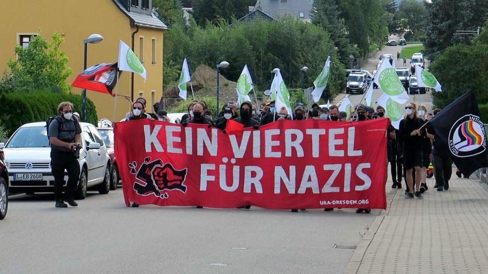 Die Demostration Samstag in Zwönitz.