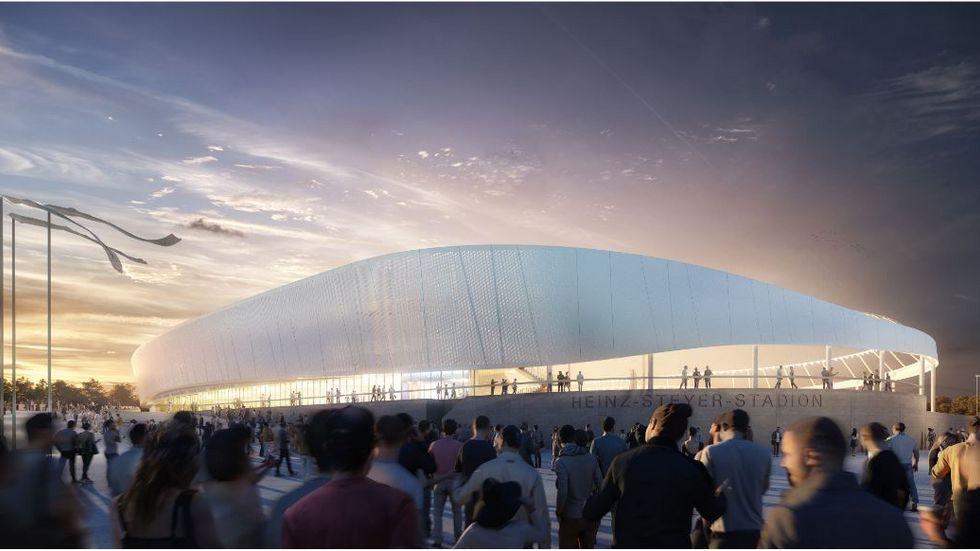 Entwurf der neuen Außenansicht des Heinz-Steyer-Stadions