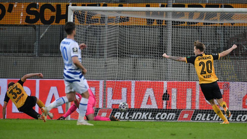 Christoph Daferner erzielt nach 514 Minuten ohne eigenen Treffer das Tor zum 1:0