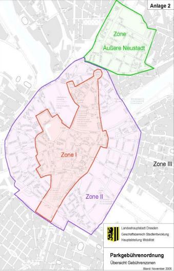 Aktuelle Parkzonen in Dresden